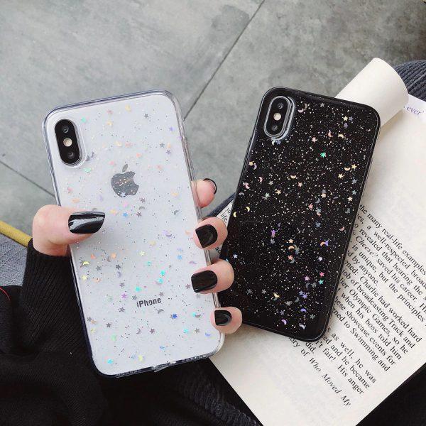 Bling Glitter Clear Black iPhone Case - FinishifyStore