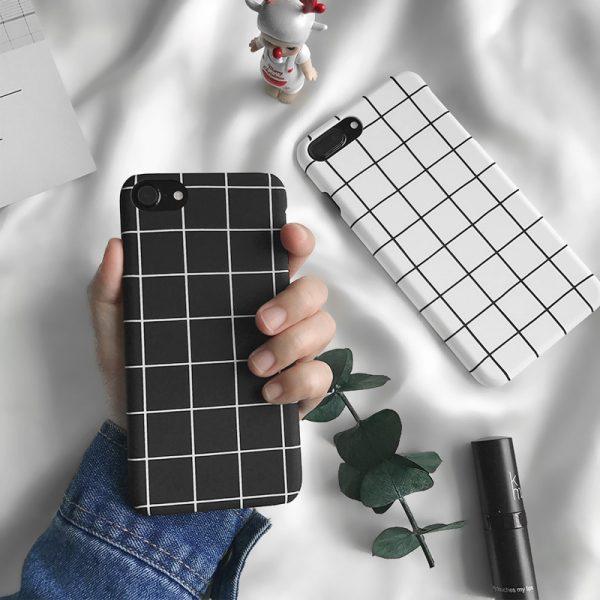 fashion Black White Grid iPhone 7 Plus Case - FinishifyStore