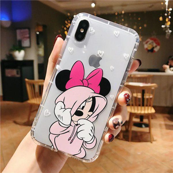 Mickey Minnie Transparent Pink iPhone Case - FinishifyStore