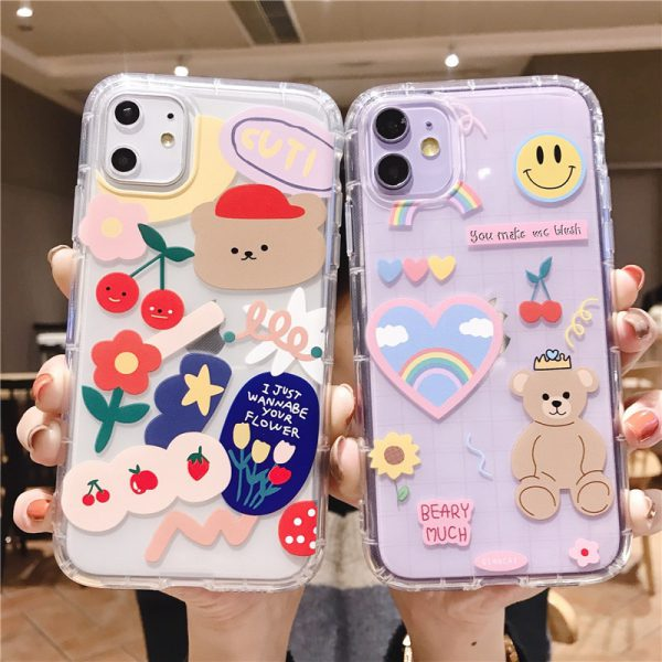 Cartoon Bear Stickers iPhone Case - FinishifyStore
