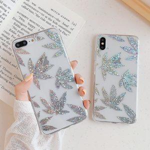 Glitter Silver Leaf iPhone X Case - FinishifyStore