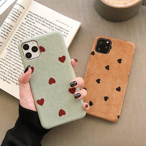 Velvet Heart Green Brown iPhone Case - FinishifyStore