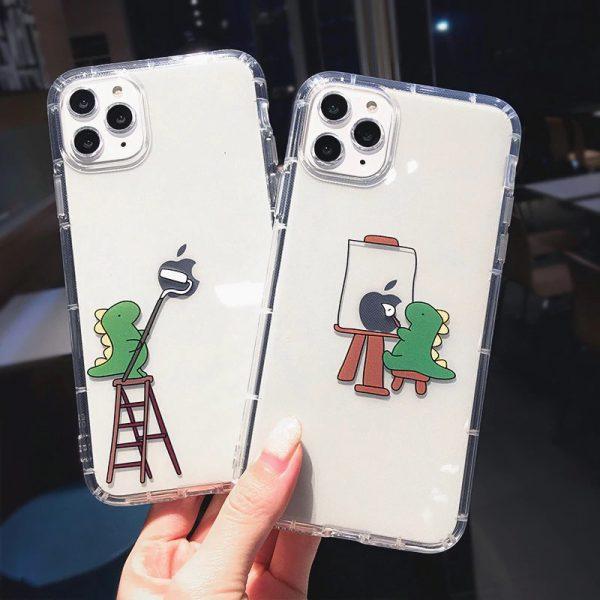 Cute Dinosaur Painter iPhone Case - FinishifyStore
