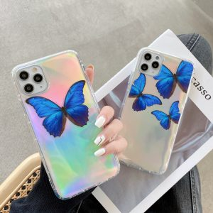 Holographic Blue Butterfly iPhone Case - FinishifyStore