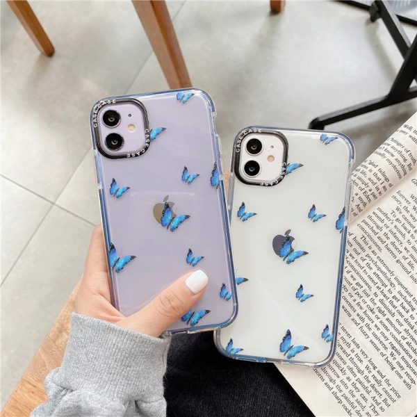 Blue Butterfly Clear iPhone Case - FinishifyStore