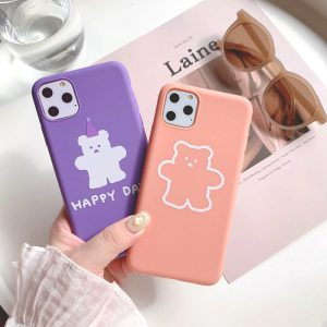 Cartoon Pink Purple Bears iPhone 11 Pro Max Case - FinishifyStore