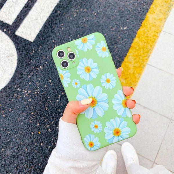 Daisy flower green silicone iphone 11 pro max case - finishifystore