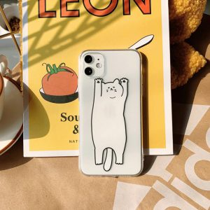 Cartoon Cat Clear iPhone Case - FinishifyStore