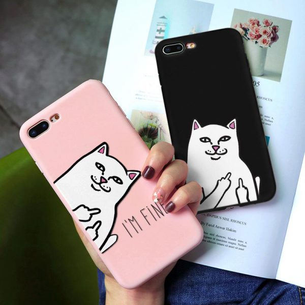 funny pink black cat design iPhone Case - FinishifyStore