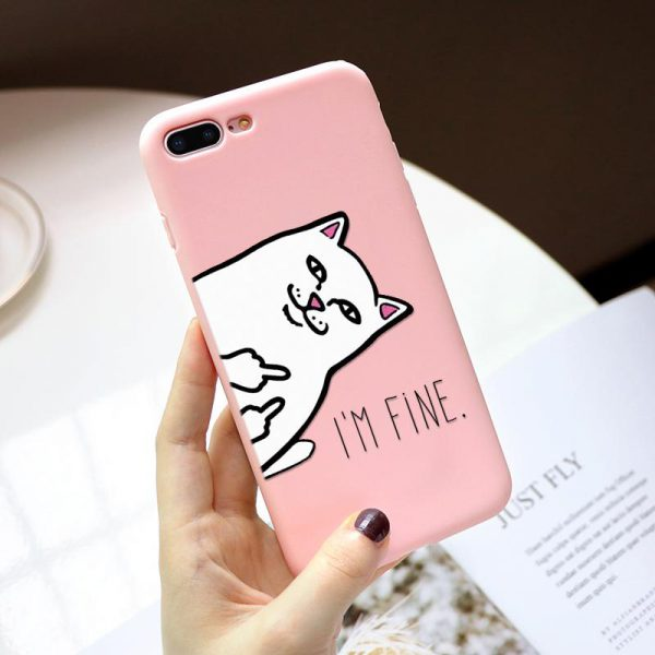 Funny Pink Cat Design iPhone Case - FinishifyStore