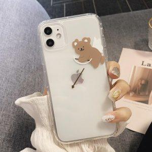Cute Bear Clear iPhone 12 Case