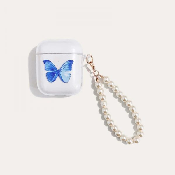 Blue Butterfly Pattern AirPods Case