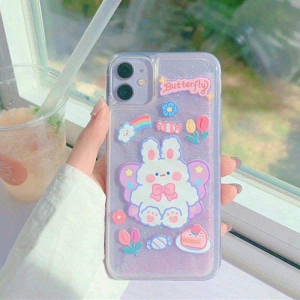 Cute Purple Glitter Design Case for iPhone