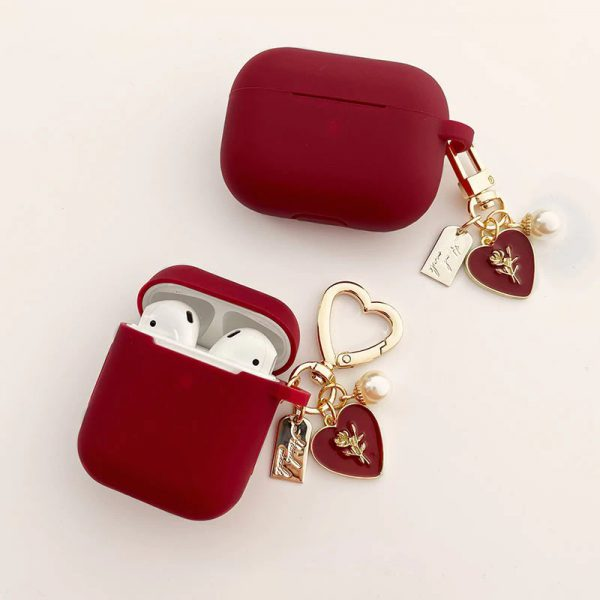 Cute Red Love Silicone Design AirPods Case