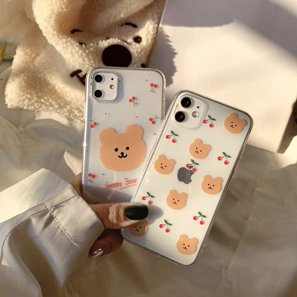 Cherry Bear Clear iPhone Case