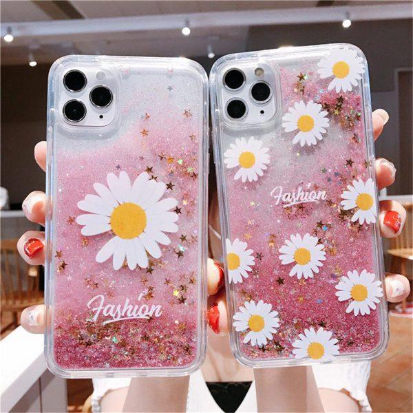 Pink Glitter Daisy iPhone 11 Case